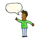 cartoon man advising caution with speech bubble Royalty Free Stock Images