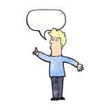 Cartoon man advising caution with speech bubble Royalty Free Stock Photo