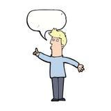 Cartoon man advising caution with speech bubble Stock Photos