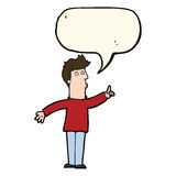 Cartoon man advising caution with speech bubble Royalty Free Stock Photography