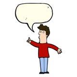 Cartoon man advising caution with speech bubble Stock Photography