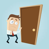 Cartoon man is afraid of knocking on the door Stock Photo