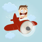 Cartoon man in an aircraft Stock Photo