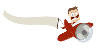 Cartoon man in an airplane with empty banner Royalty Free Stock Photography