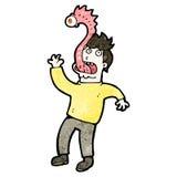 Cartoon man with alien parasite Stock Photos
