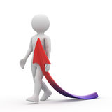Cartoon man with the arrow. On white background Royalty Free Stock Image