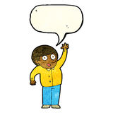 Cartoon man asking question with speech bubble Stock Photo
