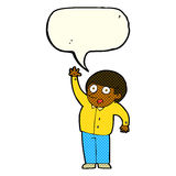 Cartoon man asking question with speech bubble Royalty Free Stock Image