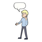 Cartoon man asking question with speech bubble Royalty Free Stock Images
