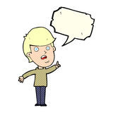 Cartoon man asking question with speech bubble Stock Photos