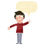 Cartoon man asking question with speech bubble Royalty Free Stock Photos