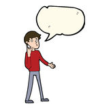 Cartoon man asking question with speech bubble Royalty Free Stock Photo