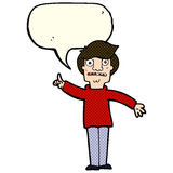 Cartoon man asking question with speech bubble Stock Images
