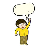 Cartoon man asking question with speech bubble Stock Image