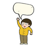 Cartoon man asking question with speech bubble Stock Photography