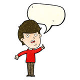 Cartoon man asking question with speech bubble Royalty Free Stock Photography