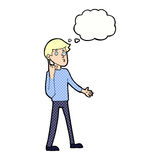Cartoon man asking question with thought bubble Stock Image