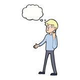 Cartoon man asking question with thought bubble Stock Images