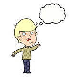 Cartoon man asking question with thought bubble Royalty Free Stock Images