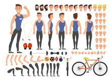 Cartoon man athlete vector character constructor with set of body parts and sports equipment Stock Image