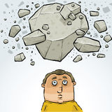 Cartoon Man in Avalanche Royalty Free Stock Photo