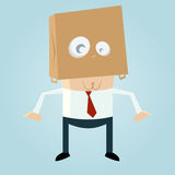 Cartoon man with a bag on his head Royalty Free Stock Image