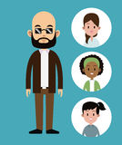 Cartoon man bald with sunglasses beard-faces girl icons Royalty Free Stock Images