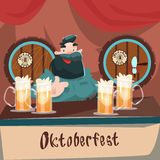 Cartoon Man At Bar Beer Glass Mug Barrel Oktoberfest Festival Banner Stock Photography