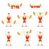 Cartoon man barbell exercises: squat, deadlift, overhead press. Royalty Free Stock Photo