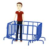 Cartoon man with barriers Royalty Free Stock Image