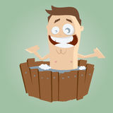 Cartoon man is bathing Stock Images