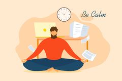 Free Cartoon Man Be Calm Meditate Office Stress Relief Royalty Free Stock Images - 149510929