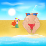 Cartoon man on the beach Royalty Free Stock Photo
