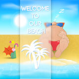 Cartoon man on the beach. Tropical paradise with cartoon man. Vector illustration Stock Images