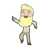 Cartoon man with beard laughing and pointing Royalty Free Stock Images