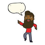 cartoon man with beard laughing and pointing with speech bubble Royalty Free Stock Image