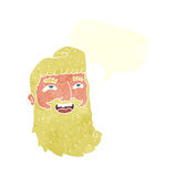 cartoon man with beard laughing with speech bubble Stock Photography