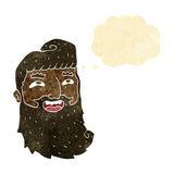 Cartoon man with beard laughing with thought bubble Royalty Free Stock Photos