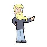 Cartoon man with beard pointing Royalty Free Stock Image