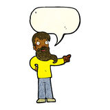Cartoon man with beard pointing with speech bubble Royalty Free Stock Photography