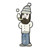 Cartoon man with beard smoking pipe Royalty Free Stock Photography
