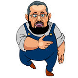 Cartoon man with a beard wearing glasses in blue overalls Royalty Free Stock Photography