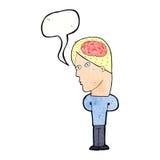 cartoon man with big brain with speech bubble Royalty Free Stock Photo