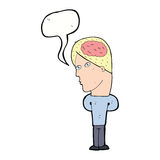 cartoon man with big brain with speech bubble Royalty Free Stock Images