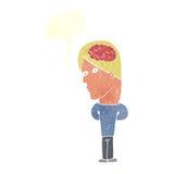 cartoon man with big brain with speech bubble Stock Photos