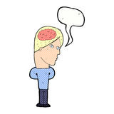 cartoon man with big brain with speech bubble Stock Images
