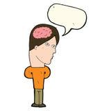 cartoon man with big brain with speech bubble Stock Photo