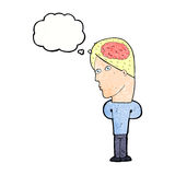 Cartoon man with big brain with thought bubble Stock Photo