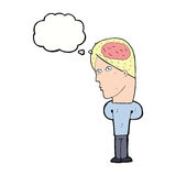Cartoon man with big brain with thought bubble Royalty Free Stock Images