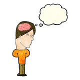 Cartoon man with big brain with thought bubble Stock Image